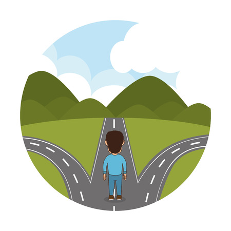 person walking in the road vector illustration design