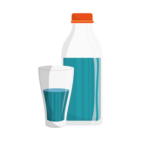 purified: water bottle and glass vector illustration design Illustration