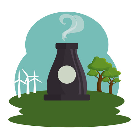 plant energy factory icon vector illustration design