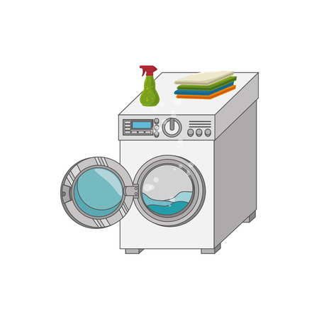 laundry care symbol: laundry service set icons vector illustration design Illustration