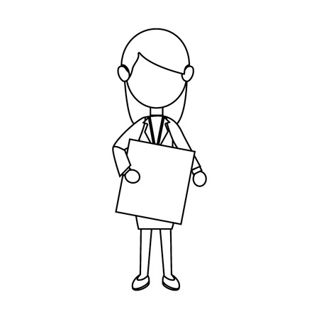 businesswoman character avatar with label vector illustration design Illustration