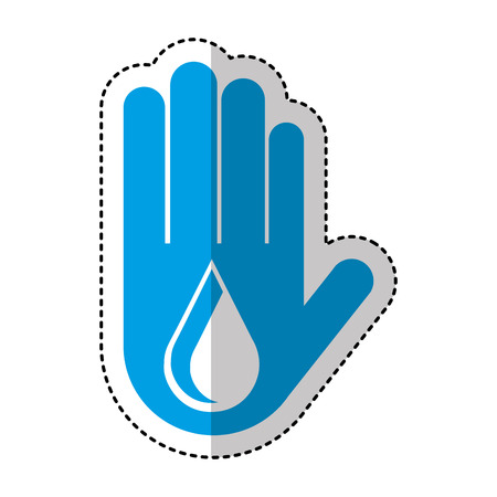 hand human with water drop isolated icon vector illustration design Illustration