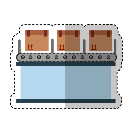 conveyor system: logistic line machine icon vector illustration design
