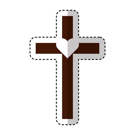 cross first communion icon vector illustration design