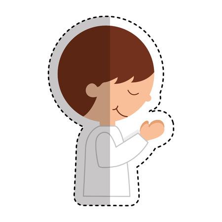 first communion boy character vector illustration design