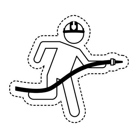 evacuacion: bombero ejecutando el diseño aislado del ejemplo del vector del icono
