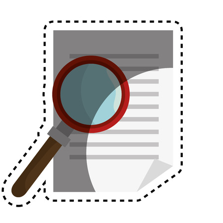 document with magnifying glass vector illustration design