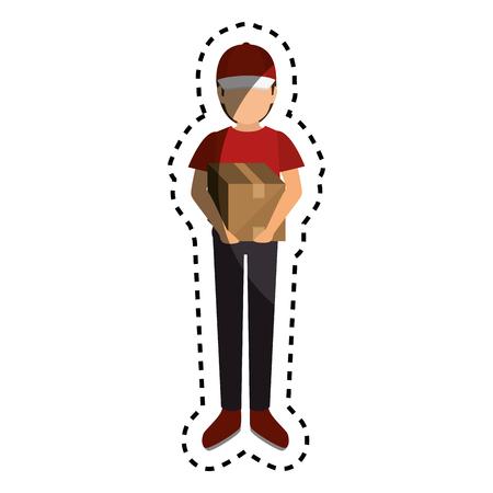 delivery worker service icon vector illustration design Illustration