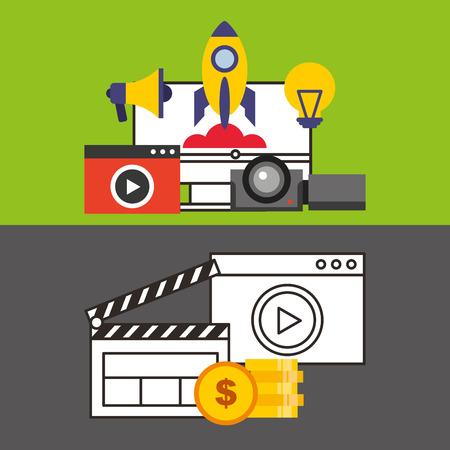 launcher: social media marketing icon vector illustration design