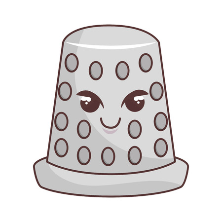 Thimble tool character comic icon vector illustration design Illustration
