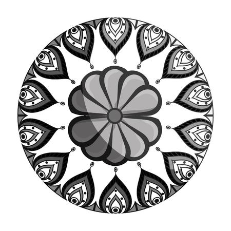 hinduismo: mandala art decorative icon vector illustration design