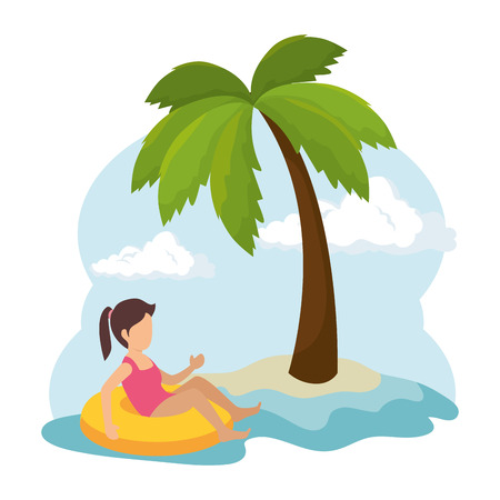 child with float character vector illustration design
