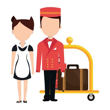 hotel staff: room service and bellboy character hotel vector illustration design