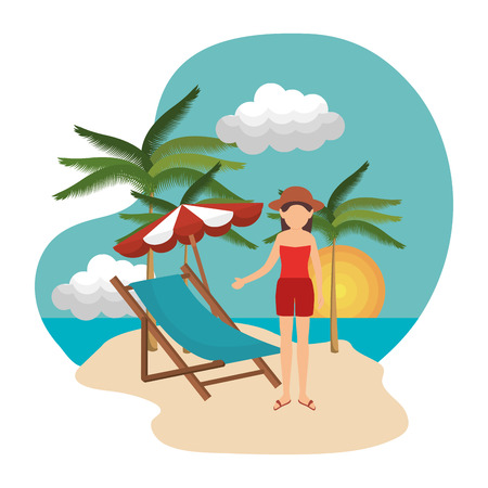 diversion: woman relax in the chair beach vector illustration design