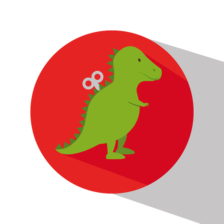 girl using laptop: rex dinosaur in train wagon vector illustration design