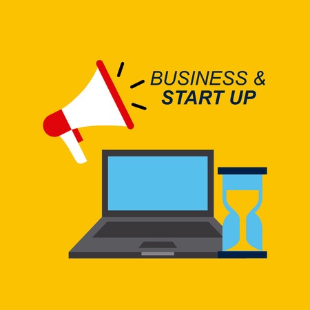 laptop computer, megaphone and sandclock icons over yellow background. business and start up concept. colorful design. illustration