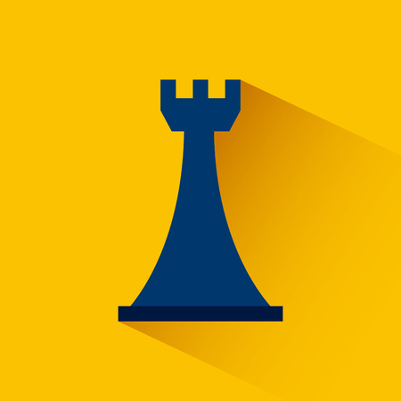 chess rook icon over yellow background. colorful design. illustration Illustration