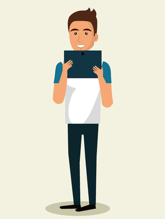 young man using smartphone avatar character illustration design
