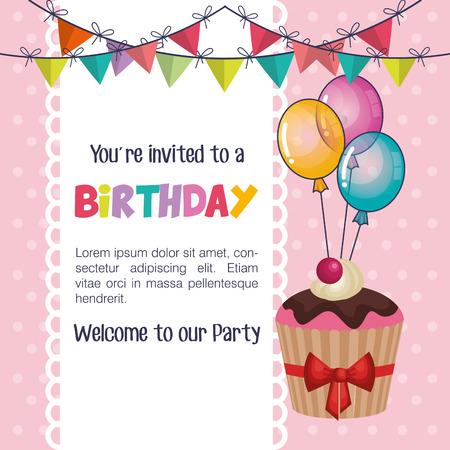Happy birthday party invitation with sweet cupcake illustration happy birthday party invitation with sweet cupcake illustration design stock vector 70084375 filmwisefo