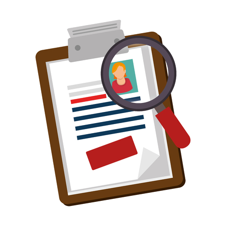 clipboard with magnifying glass illustration design