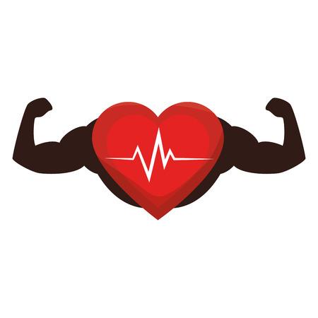 hartcardio met het sterke ontwerp van de handenillustratie Stock Illustratie