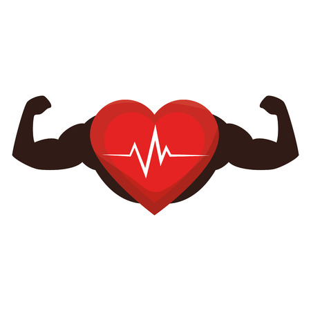 heart cardio with strong hands illustration design Illustration