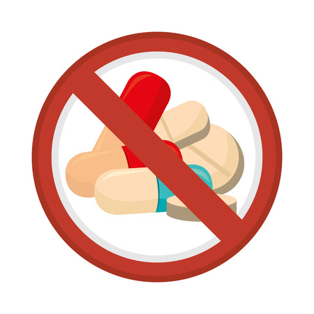 dont: prohibited sign capsules drugs isolated icon illustration design