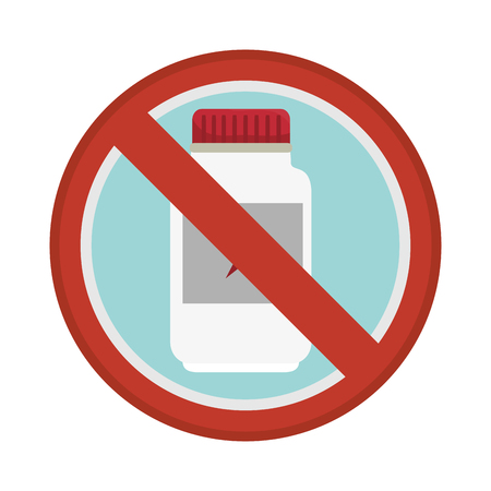 prescription bottles: prohibited sign medicine bottle isolated icon illustration design Illustration