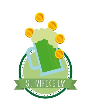 tarro cerveza: saint patricks day card with beer jar and gold coin over white background. colorful design. illustration