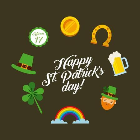 gold leafs: saint patricks day card with irish icons around. colorful design. illustration