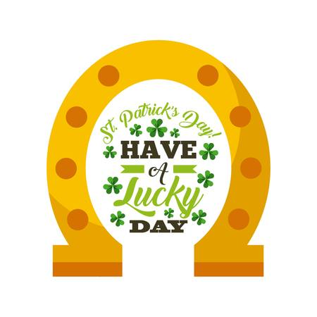 gold leafs: saint patricks day card with gold horseshoe icon over white background. colorful design. illustration Illustration