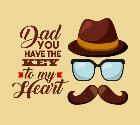 macho: happy fathers day card with mustache, glasses and hat icons. colorful design. vector illustration