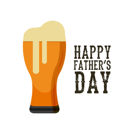 tarro cerveza: happy fathers day card with beer jar icon over white background. colorful design. vector illustration Foto de archivo