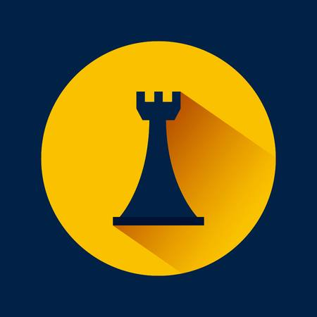 chess rook icon over yellow circle and blue background. vector illustration Illustration