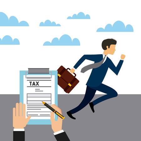 hand with tax document and businessman running. business and tax concept. colorful design. vector illustration