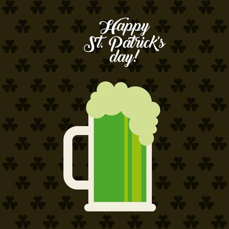 jarra de cerveza: saint patricks day card with beer jar icon. colorful design. vector illustration