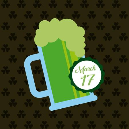 tarro cerveza: saint patricks day card with beer jar icon. colorful design. vector illustration