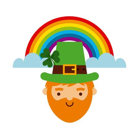 leprechaun and rainbow icon over white background. saint patricks day. colorful design. vector illustration