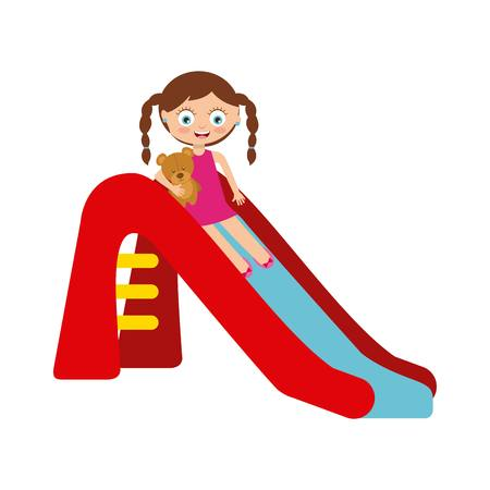 cartoon happy girl playing on the slide over white background. colorful design. vector illustration Illustration