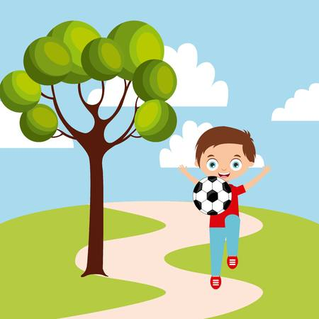 ball park: cartoon happy kid playing with soccer ball in the park. colorful design. vector illustration