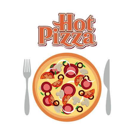 fork and knife with a pizza over white background. fast food concept. colorful design. vector illustration