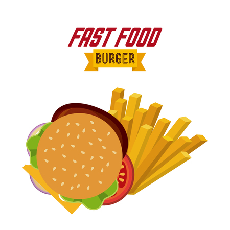 hamburger and french fries over white background. fast food concept. colorful design. vector illustration Illustration