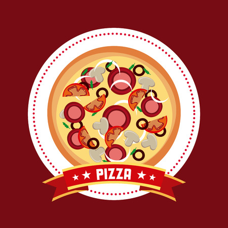 pizza icon over red background. fast food concept. colorful design. vector illustration