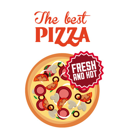 pizza icon over white background. fast food concept. colorful design. vector illustration