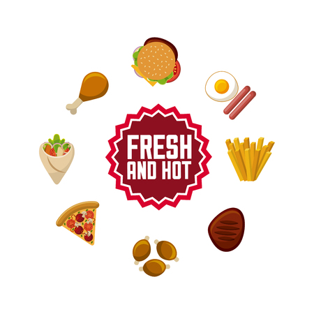 fast food around over white background. colorful design. vector illustration Illustration