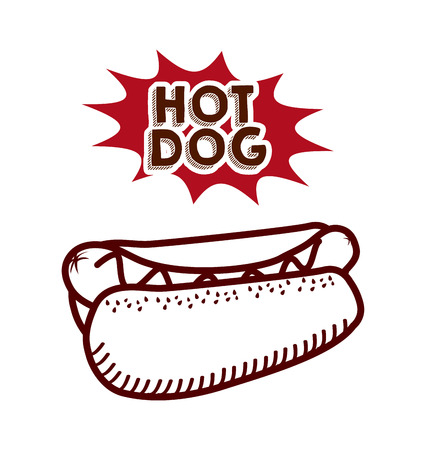 hot dog icon over white background. fast food concept. colorful design. vector illustration