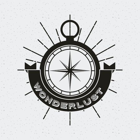 wanderlust card with compass icon. black and white design. vector illustration