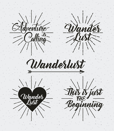 active arrow: wanderlust emblems over white background. vector illustration