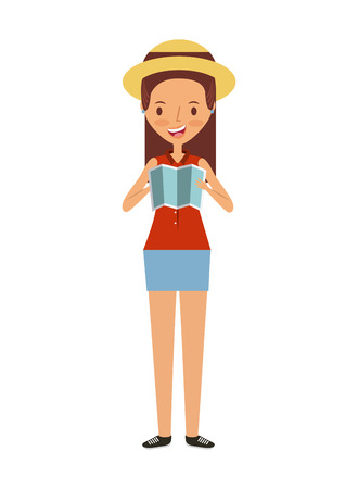happy young woman cartoon icon over white background. trip and vacations concept. colorful design. vector illustration