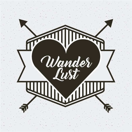 frame with wanderlust card with arrows and heart icon. vector illustration